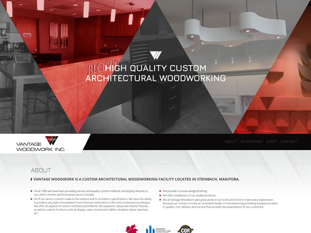 Vantage Woodwork Inc Website